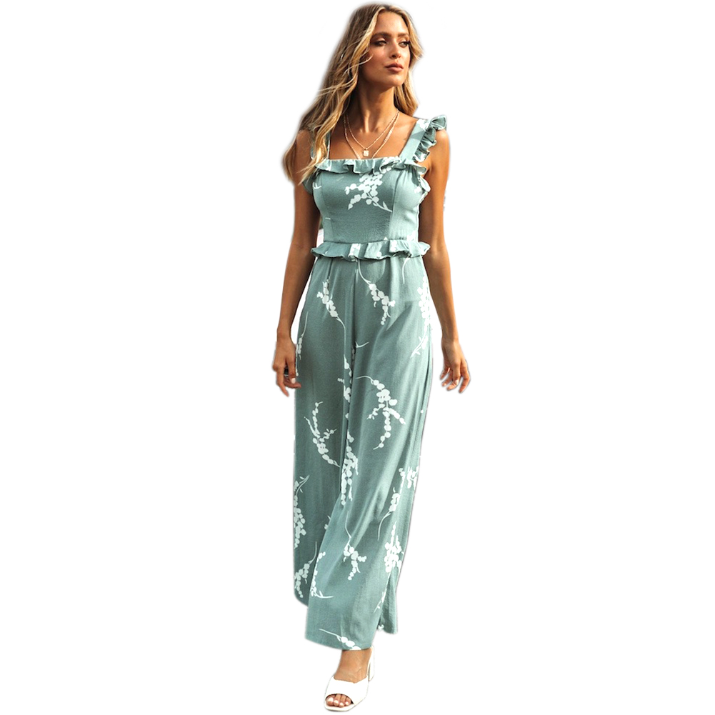 Lake Blue Party Summer Suspenders Printed Sleeveless Women Jumpsuit Sexy Ruffles Fashion Holiday Casual Long Daily Women's Clothing
