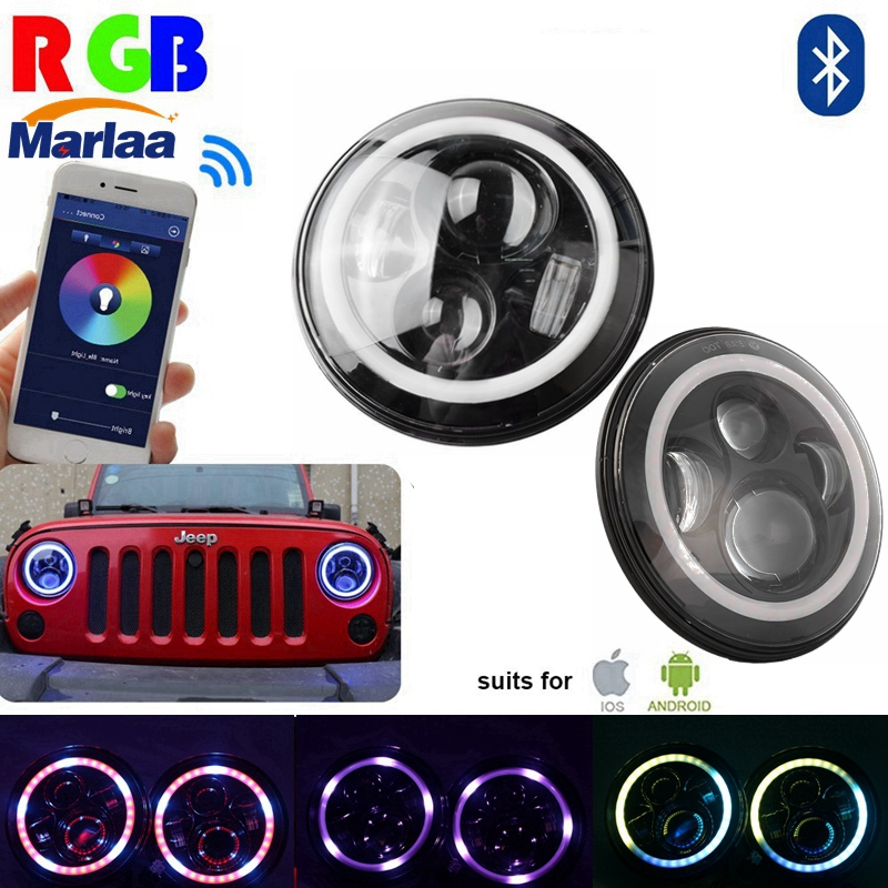 "Здесь можно купить   7 inch LED RGB Headlight 7"" Round DRL Headlamp Flashing rgb Angel eye halo ring Bluetooth Controlled for Jeep Wrangler LJ CJ JK Автомобили и Мотоциклы"
