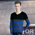 Korean Style Slim Sweater Men Striped Mens Sweater Pullover Coat Knitting Patterns Mens Sweaters Casual Men Clothing #KWM116