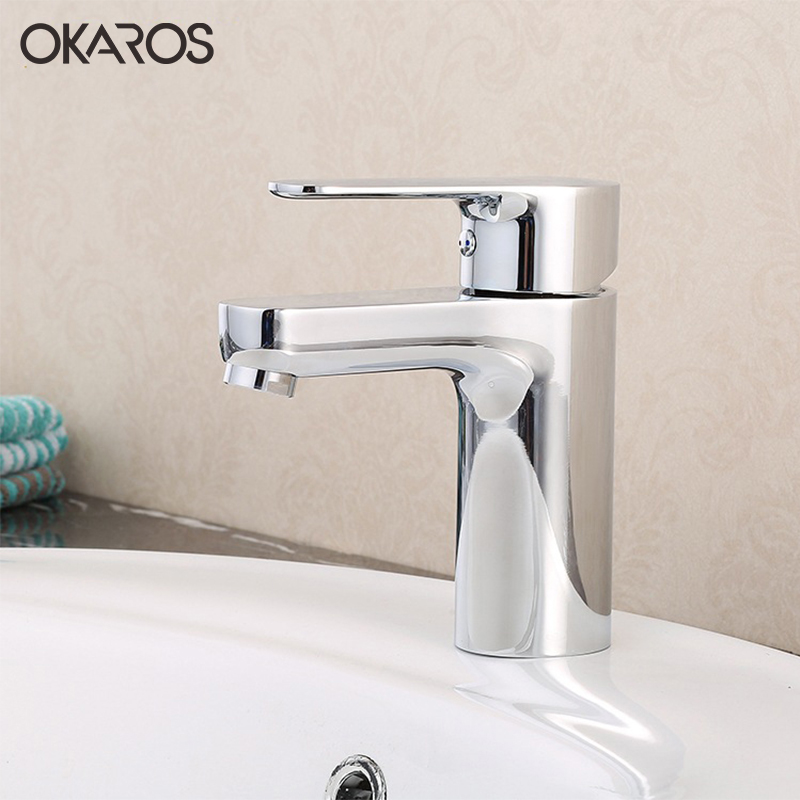 OKAROS Classic Modern Bathroom Basin Vessel Sink Faucet Chrome Single Handle Single Hole Hot And Cold Water Tap Mixer Torneira
