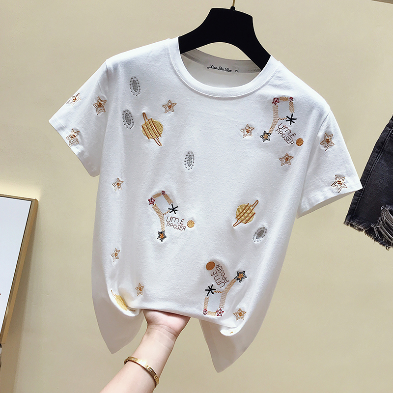 gkfnmt Korea White T shirt Women Clothes Summer Short Sleeve Embroidery Vintage TShirt Female Tops Casual Black Tee Shirt 2019