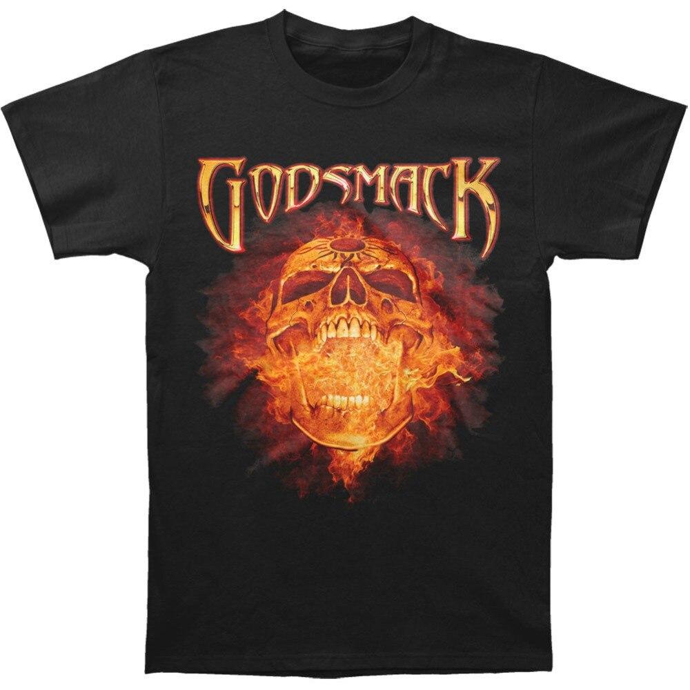 GODSMACK Burning Skull Tshirt O-Neck Summer Personality Fashion Men T-Shirts Style Vintage Tees Short Sleeve Funny