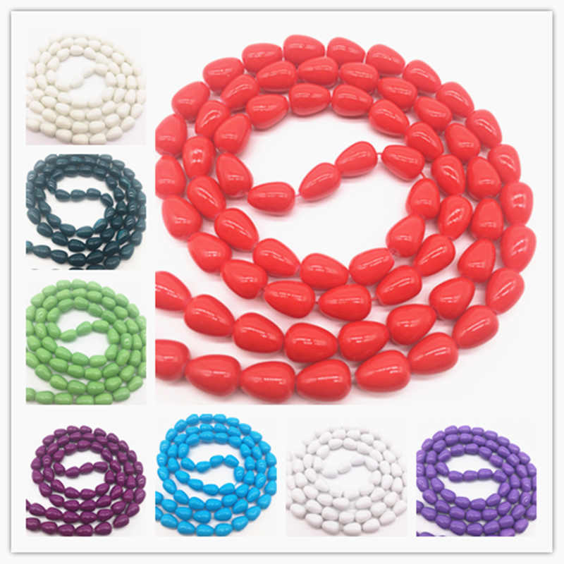 Multifarious Cor Teardrop Forma de Vidro Soltos Spacer Charme Beads DIY Jewelry Making