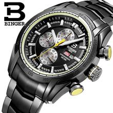 2017 New watches men luxury brand Wristwatches BINGER Quartz watch Sport Chronograph clock Diver glowwatch B1163-2