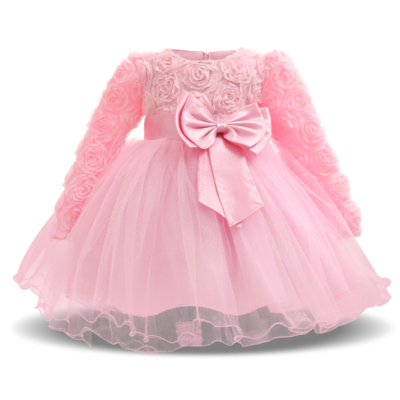 Autumn Winter Kids Baby Dresses Long Sleeve Flower Dress for 1st Birthday Party Princess Girls Clothes Christening Dress