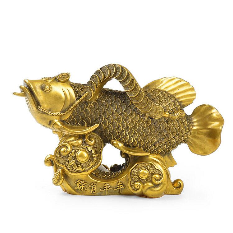 15'' brass copper home fengshui decor auspicious fortune treasure fish statue