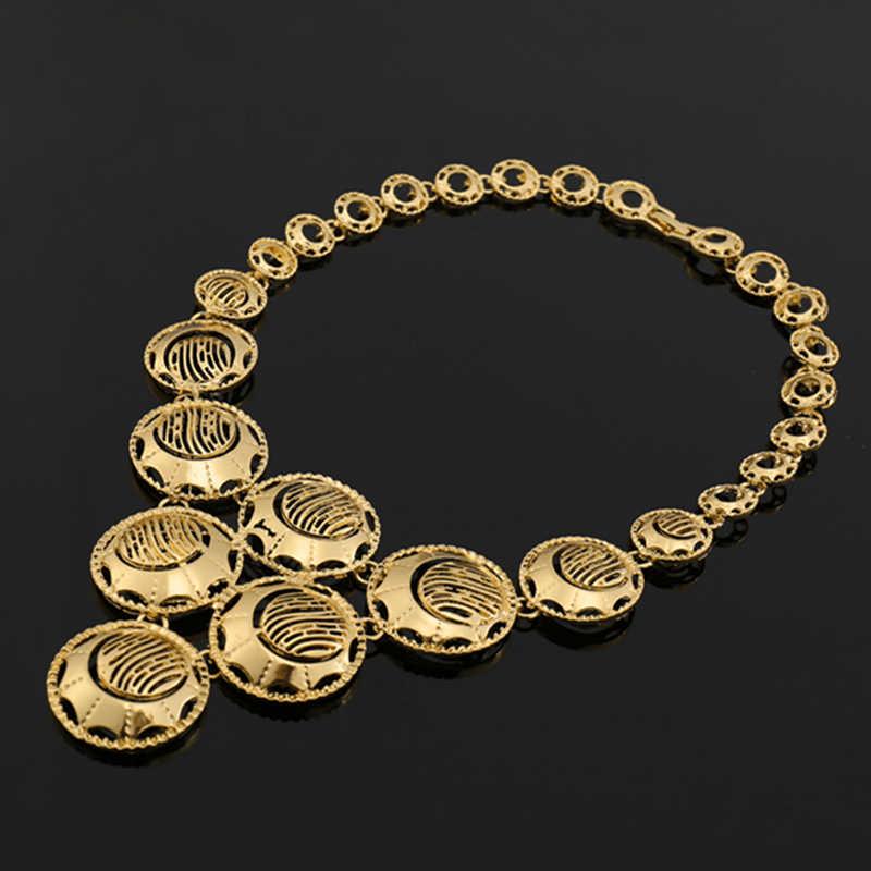 2017 תכשיטי חרוזים אופנה אפריקאים נשים כלה אביזרי חתונה גביש צבע זהב סט תכשיטי דובאי ללקוחות סיטונאיים
