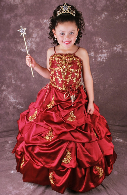 Free Shipping 2019 New Spaghetti Strap Red Pleated Satin Ball Gowns   Flower     Girl     Dresses   For Weddings With Gold Embroidery 5479