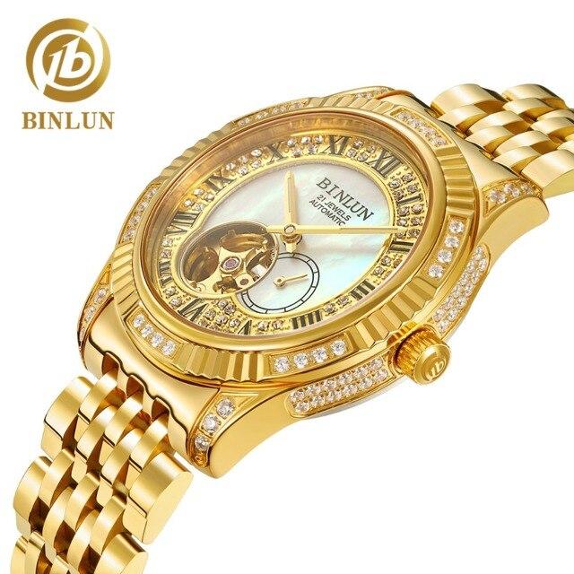 BINLUN 18K altın lüks otomatik İzle İskelet hareket izleme erkek safir kristal elmas otomatik iş erkek saatler