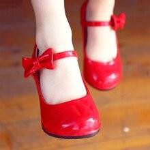 Туфли принцессы на высоком каблуке для девочек; Детские Вечерние кожаные туфли для свадьбы; сезон весна-осень; модные Нескользящие туфли на высоком каблуке с бантом для девочек; Цвет Красный