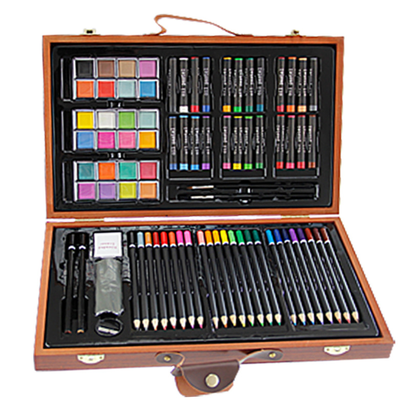 84pcs Children Painting Set Drawing Brush Elementary Water Color Pen Art Markers Wood Box Set