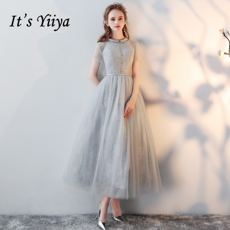 It's YiiYa   Evening     Dress   Illusion Ruched Gray O-Neck Short Sleeve Lace Zipper Ankle-length Dinner Party Formal   Dresses   LX430