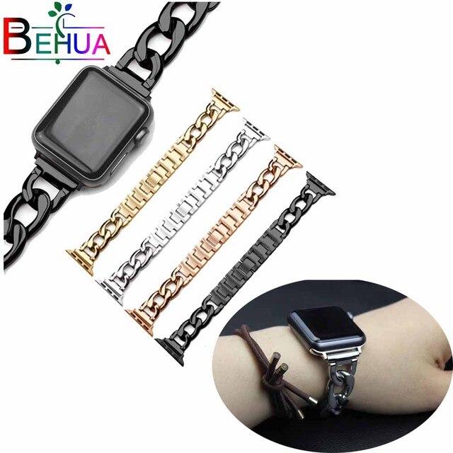 38mm 42mm wacth band strap Für Apple Uhr Edelstahl Handgelenk band armband einreihige denim kette für iwatch 3 2 1 uhr strap