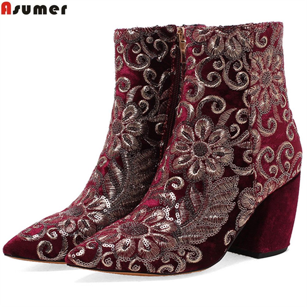ASUMER 2018 fahsion spring autumn women shoes square heel ladies boots pointed toe zipper high heels ankle boots big size 34-43 nemaone 2018 women ankle boots square high heel pointed toe zipper fashion all match spring and autumn ladies boots