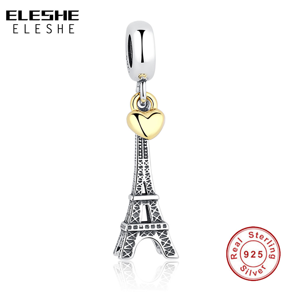 925 Sterling Silver EIFFEL TOWER PENDANT CHARM Gold Heart Bead fit Original  Bracelet Necklace DIY Jewelry Accessories