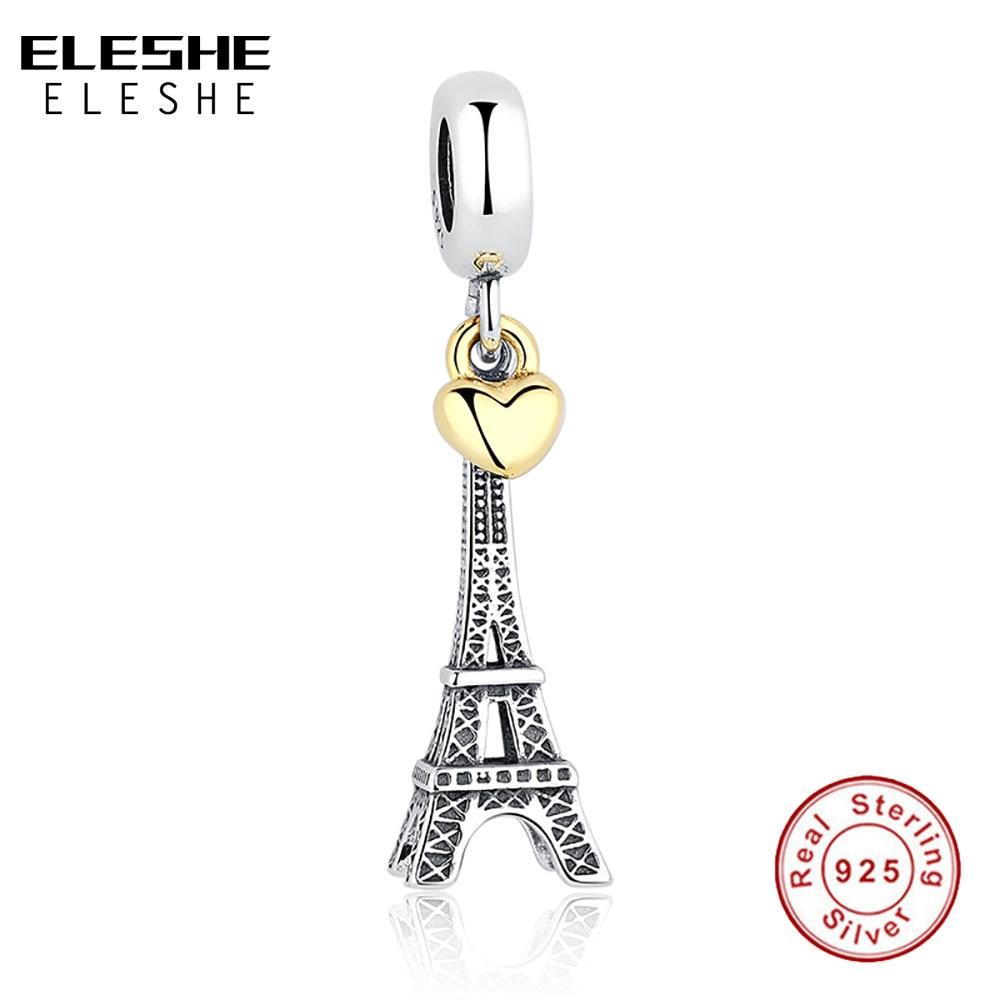 925 Sterling Silver EIFFEL TOWER OBLIKOVAN CHARM zlato srce kroglica fit originalna zapestnica ogrlica DIY nakit dodatki
