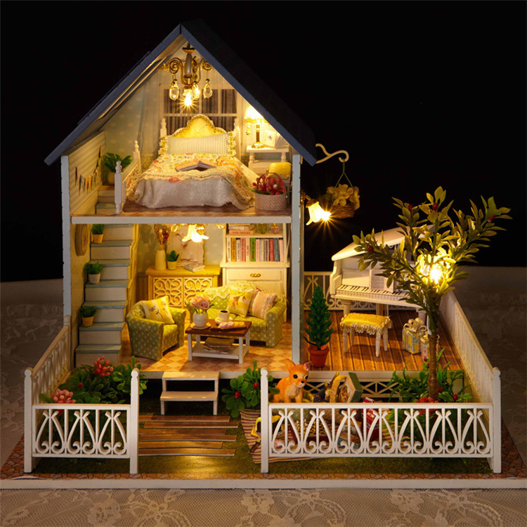 Assembling DIY wooden dollhouse miniatures with furniture   Nordic holiday wooden toy house for children adults 1 12 dollhouse miniatures furniture re ment refrigerator hearth integral kitchen lampblack machine