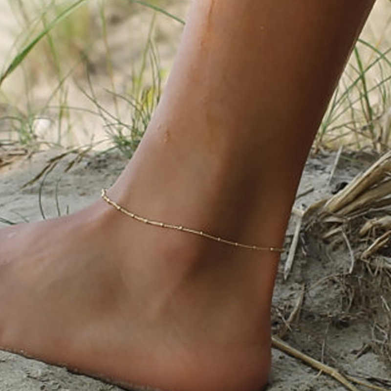 New Fashion Gold Silver Color Beads Chain Anklet Bracelet on The Leg Women Delicate Satellite Ankle Chain Girls Foot Jewelry
