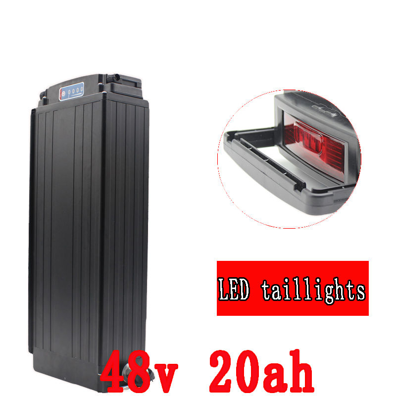 Electric Bike battery 48V 20AH 1000W Rear Rack battery 48V 20AH Lithium ion battery With Tail light 30A BMS 54.6V 2A charger free customs taxes super power 1000w 48v li ion battery pack with 30a bms 48v 15ah lithium battery pack for panasonic cell