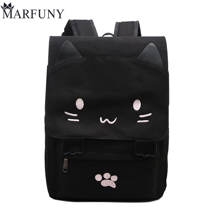 Fashion Canvas Backpacks For Teenage Girls School Bags Cute Cat Women Backpack Preppy Style Cartoon Bag Large Capacity Mochila zooler women s backpack eyes sequined designer black cartoon eyes backpacks travel bag cute shell backpacks for teenager girls