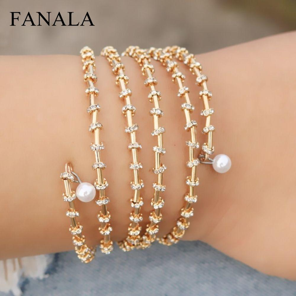 & Color L246 New Simulated Bangles Multilayer Vintage Pearl Shining Pulseras Bracelets Gold Bangles Crystal Charm Wrap Brand