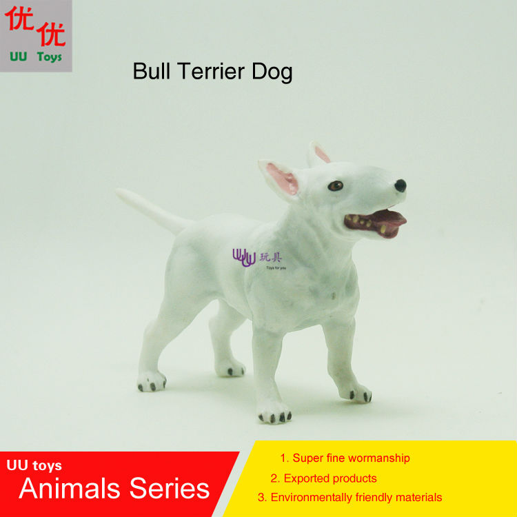Hot toys:Bull Terrier Dog simulation model Animals kids toys children educational props hot toys great white shark simulation model marine animals sea animal kids gift educational props carcharodon carcharias jaws