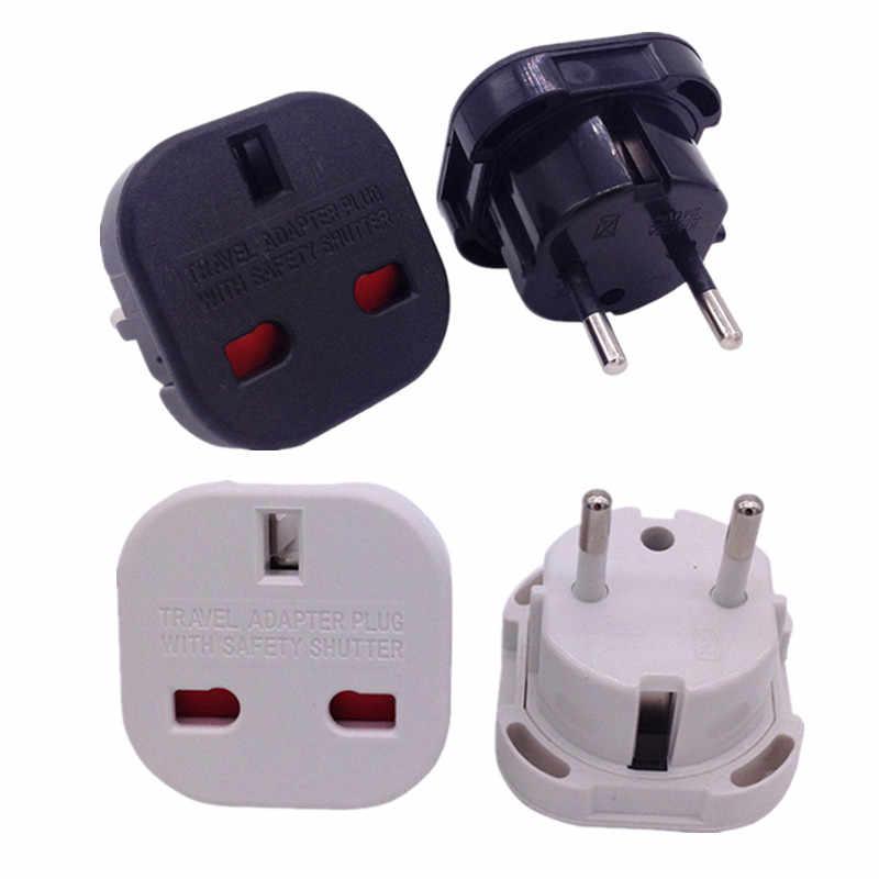 Настенная розетка с 2 контактами, Универсальный дорожный адаптер для зарядного устройства от Великобритании до Европы, 1 шт., черный/белый