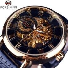 Forsining นาฬิกาผู้ชายผู้ชาย Luxury Mechanical Skeleton นาฬิกาสีดำ Golden 3D Design ตัวอักษรโรมันสีดำ Dial Designer