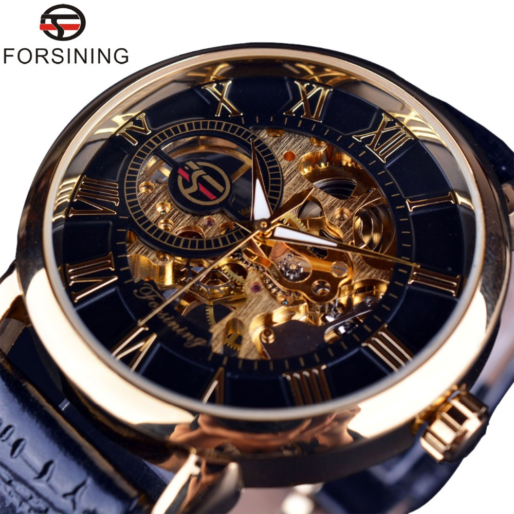 Forsining Men Watches Top Brand Luxury Mechanical Skeleton Watch Black Golden 3D Literal Design Roman Number Black Dial Designer mens mechanical watches top brand luxury watch fashion design black golden watches leather strap skeleton watch with gift box
