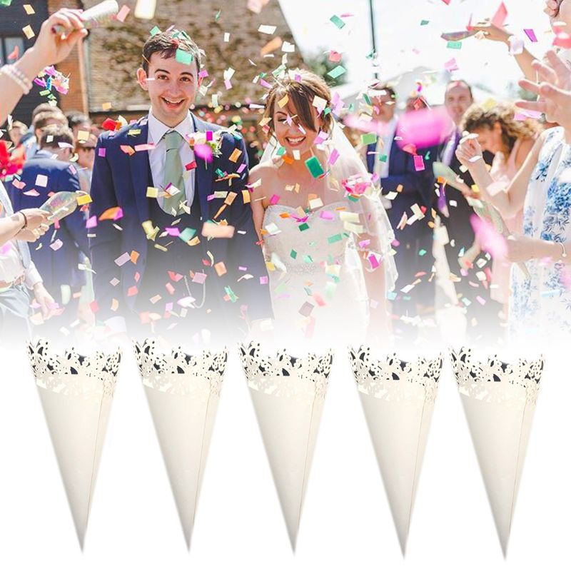 50pcs DIY Laser Cut Hollow Butterfly Laying Petal Candy Wedding Party Favors Confetti Cones Paper Decoration Supplies Gift