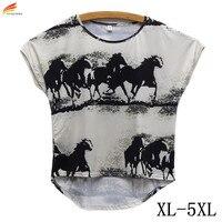 New 2016 Fashion Summer Women T Shirt Casual Tops Watercolor Horse Prints Tshirt Loose Fashion T