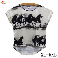 New 2016 Fashion Summer Women T Shirt Casual Tops Watercolor Horse Prints Tshirt Loose Fashion T
