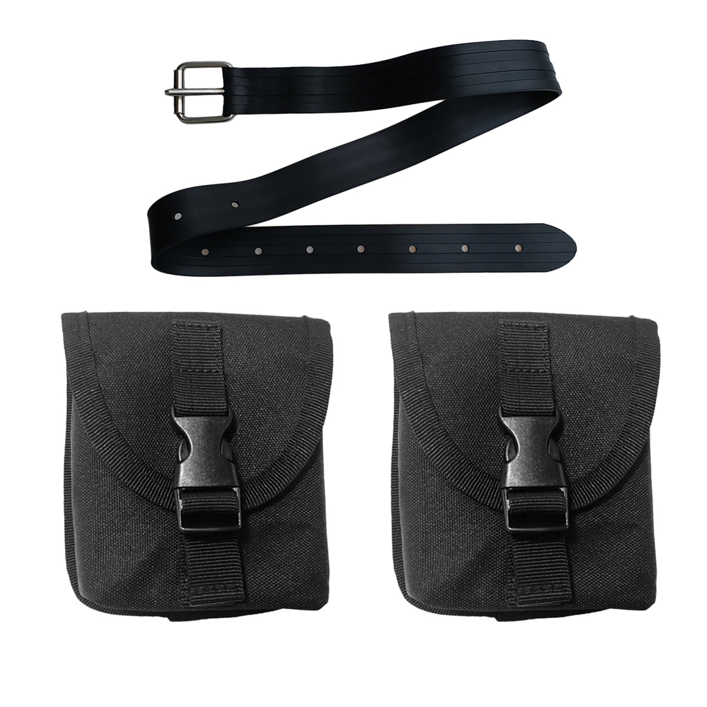 130cm Rubber Dive Belt with Classic Buckle and 2pcs Weight Pockets Pouch for Freediving and Spearfishing Diving