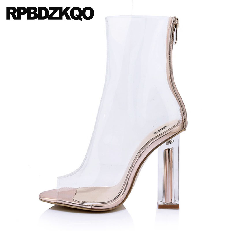 Metal Heel Boots High Ankle Designer Sexy Peep Toe Pvc Women Clear Fashion 10 Booties Shoes Chunky Transparent Ladies Big Size цена