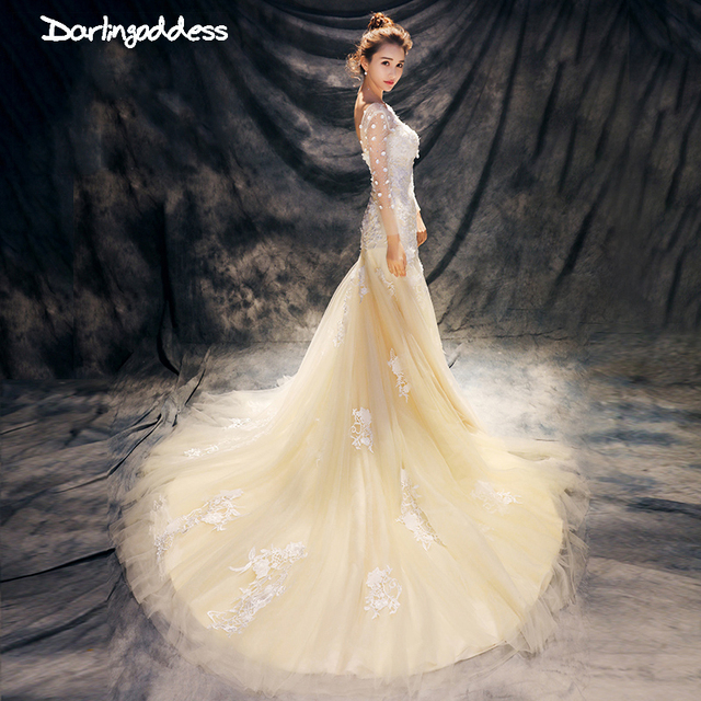 Luxury Lace Mermaid Wedding Dress Y Champagne Beading Plus Size Long Sleeve Gowns 2017 Real