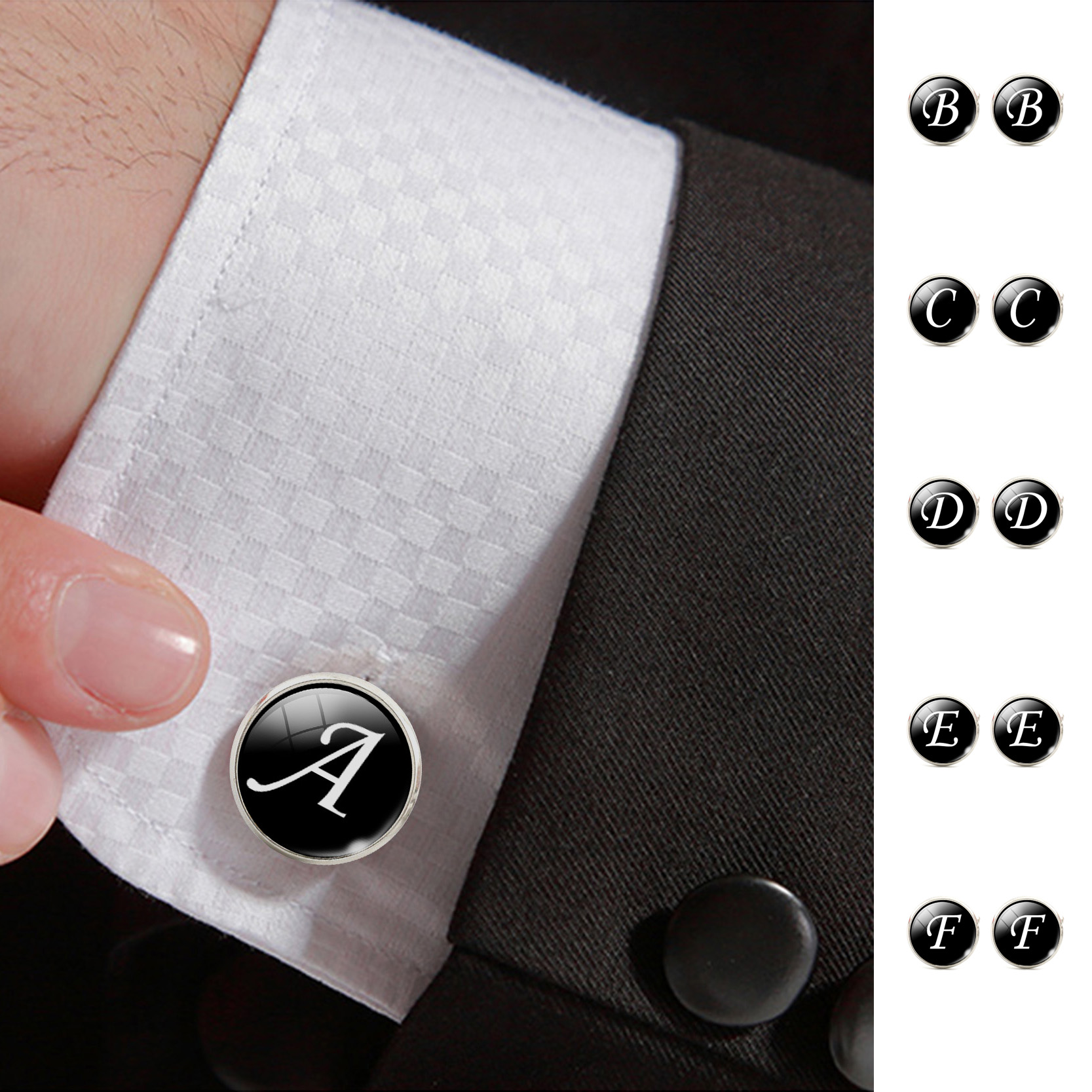 fashion jewelry men cufflinks alphabet single letter black bottom silver plated wedding party vintage 16mm men cuff link 2017
