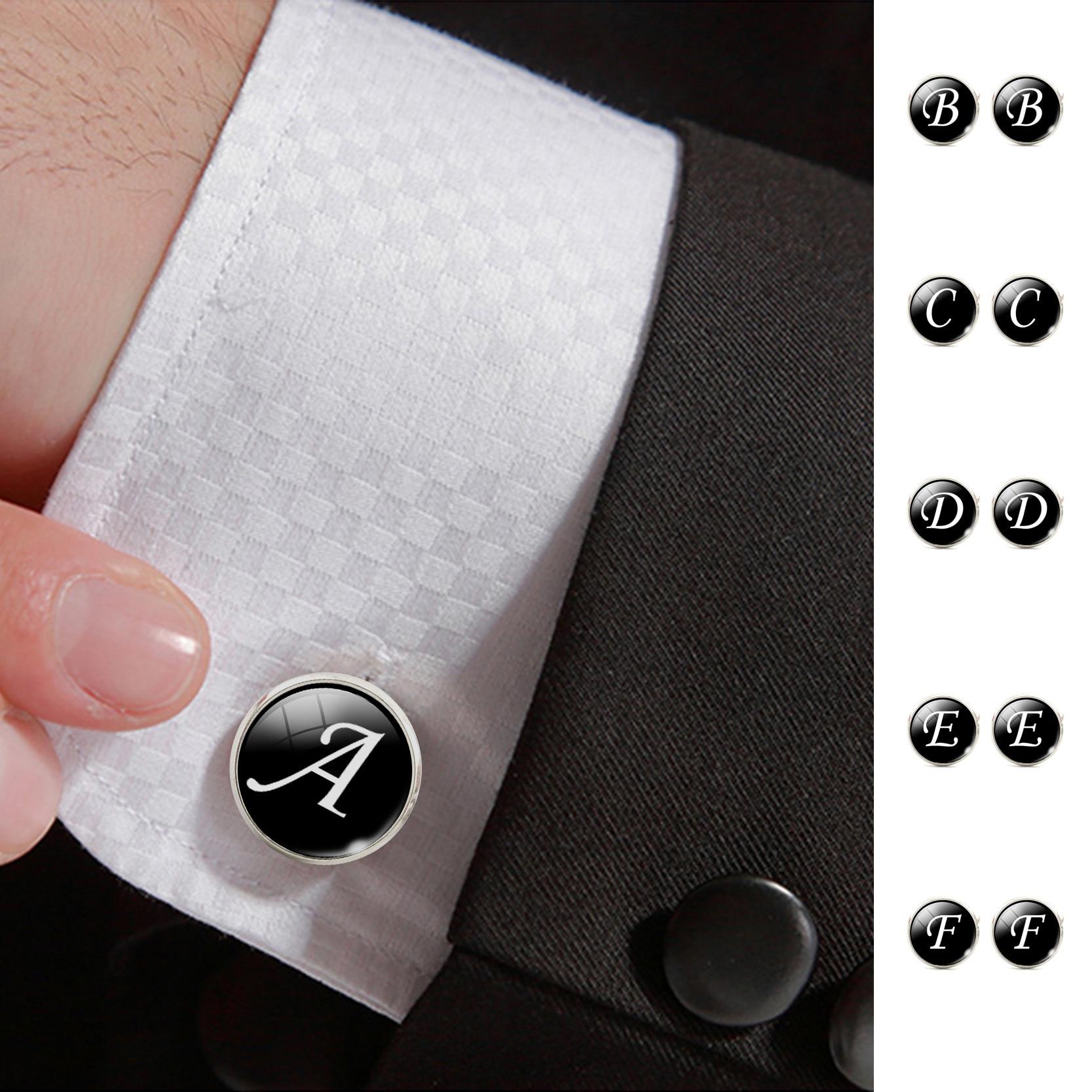 fashion jewelry men cufflinks alphabet single letter black bottom silver plated wedding party vintage 16mm men cuff link 2017