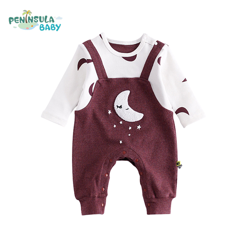 Newborn Baby Girl Boys Romper Long-Sleeve Cartoon Star Moon Embroidery Autumn Infant Jumpsuit Belt Pants Outfits Warm Clothes 2pcs set newborn floral baby girl clothes 2017 summer sleeveless cotton ruffles romper baby bodysuit headband outfits sunsuit