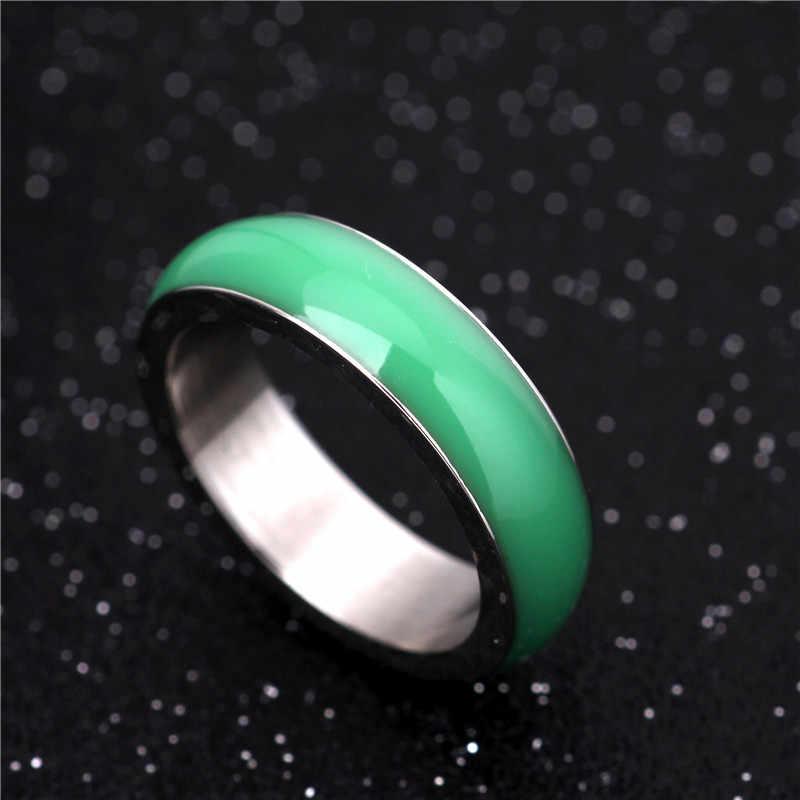 6 มม.316L แหวนสแตนเลสสำหรับผู้ชายและผู้หญิงภาพยนตร์แหวน Center Cool สีเขียวสีขาวกว้างสีหยกแหวนผู้ชาย JR2065