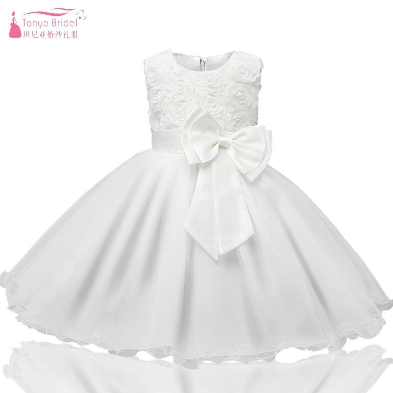 White   Flower     Girl     Dresses   Scoop Neck Rose   Flower   Kids First Communion   Dresses   For   Girls   Party   Dress   JQ206