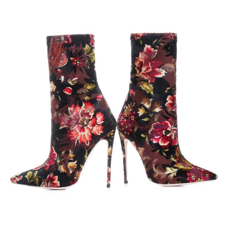 Mode Chaussures Flower Haute Sabot Glissement Y0793328f Femmes Automne Bottes forme Cheville Talons De Plate Sur Femme Moto aqPx8wO
