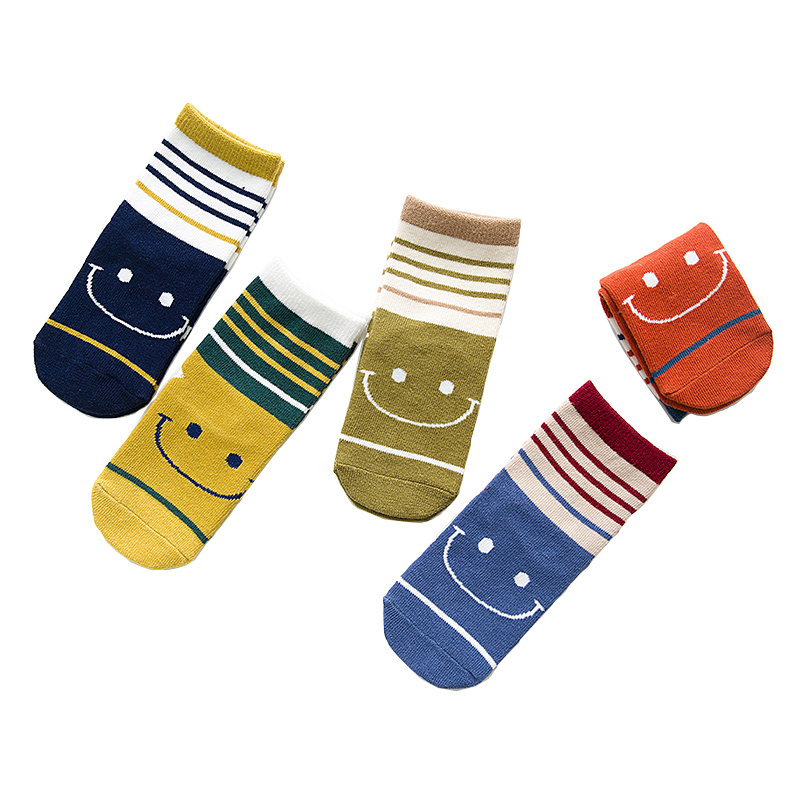 5Pairs / Lot Kids Socks Cute Smile Casual Style Hot Sale Cotton Children Boys Socks Girls Socks 1-12 Year