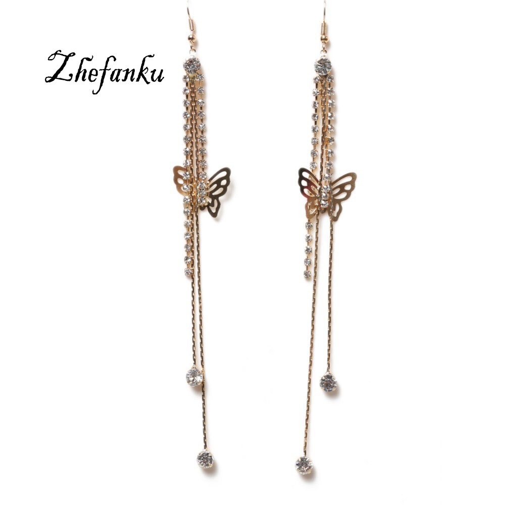 Trendy Elegant Exaggerated Butterfly Shaped Tassel Woman Earrings Gold Color Jewelery Accessories