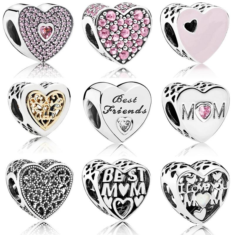 Contas de prata encantos moda mãe melhor amigo esmalte cristal coração grânulo para 925 original pandora charme pulseiras & pulseiras jóias