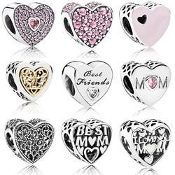Silver Beads Charms Fashion Mom Best Friend Glaze Crystal Heart Bead For 925 Original Pandora Charm Bracelets & Bangles Jewelry