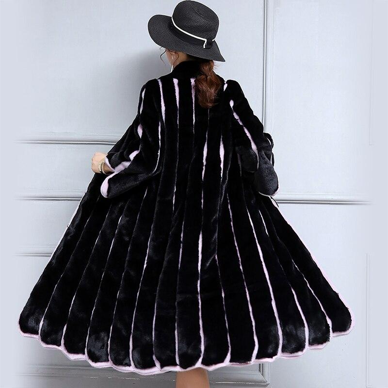 Nerazzurri 2018 Nouvelles Femmes En Fausse Fourrure Manteau Long Noir et violet Contraste Couleur Rayé Patchwork Manteau Lâche Plus La Taille 5XL 6XL