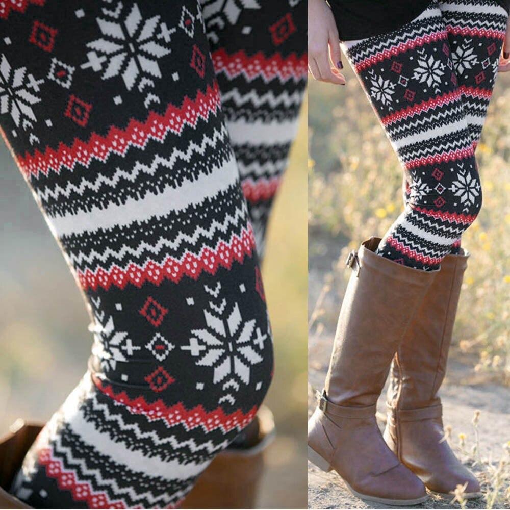 Women Winter Warm Christmas Printed Leggings