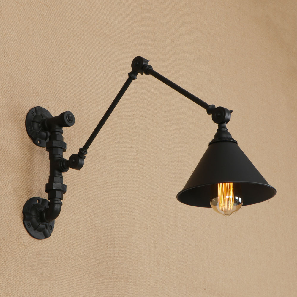 Swing Wall Lamp Us 158 Doxa Rustic Swing Arm Wall Lamp Led Iron Industrial Light Fixtures Black Wall Sconce Cone Bra Living Room Appliqne Luminaire In Wall Lamps