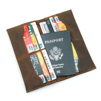 Crazy Horse Leather Long Purse Organizer Cover Soft Brown Real Cowhide Bifold Card Holder Passport Cover