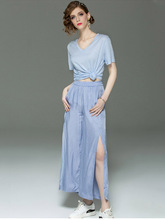 High Quality Women 2019 Summer New Short Sleeved Shirt + Wide Leg Pants Suit Two-piece Casual Fashion Elegant Ladies Sets L209